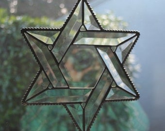 Stained Glass Beveled Star of David with Beaded Edge