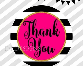 Printable Thank You Tags Black White Stripes Hot Pink Gold