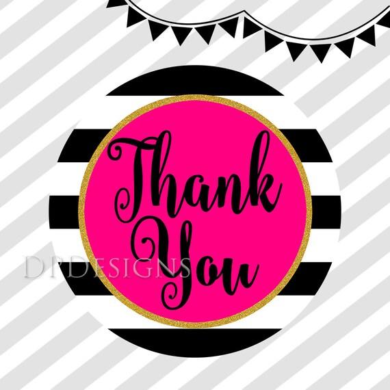 Printable Thank You Tags Black White Stripes Hot Pink Gold