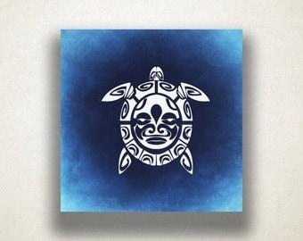 Sea Turtle Canvas Art Print, Mayan Symbol Wall Art, Reptile Canvas Print, Artistic Wall Art, Canvas Art, Canvas Print, Home Art, Wall Art