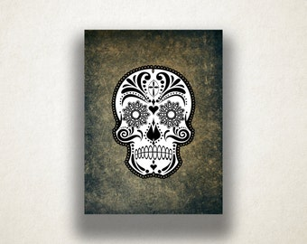 Sugar Skull Canvas Art Print, Day of the Dead Wall Art, Skull Canvas Print, Artistic Wall Art, Canvas Art, Canvas Print, Home Art, Wall Art