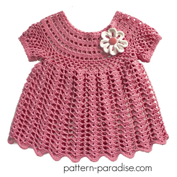 Crochet Pattern for Baby Toddler Dress Tunic Peaches and