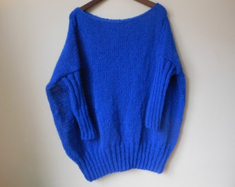 Oversized Plus Size Hand Knit Sweater Tunic Loose Knit Women's Sweater Cobalt