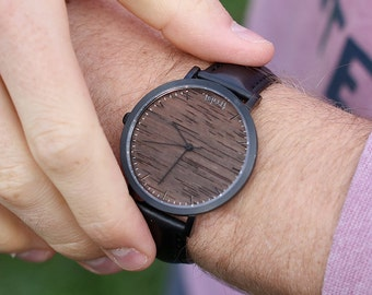 Wood Watch, Sandalwood with Black Casing and Black Leather Strap - HELM-SB