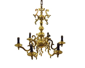 Early 1900s Solid Brass Scroll Chandelier - Art Nouveau Lines with Black & Gold Candle Covers