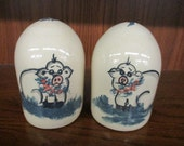 Paul Storie Pottery Marshall Texas Pig Salt and Pepper Shakers