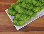 Angst Cucumbers on Tendril, Superwash Merino Fingering Weight Hand-dyed Yarn