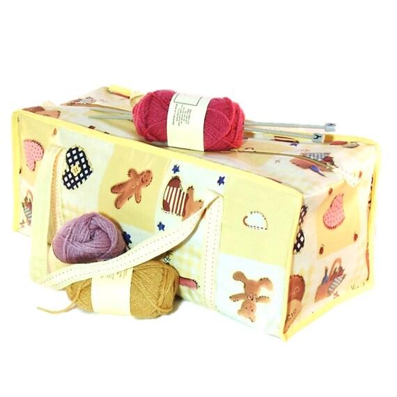 Patchwork Knitting Bag Pattern : Items similar to Knitting project bag in patchwork pattern vinyl large craft ...