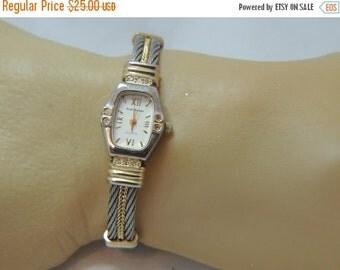 Sizzlin Summer Sale Sergio Valente Vintage Rhinestone Wrist Watch with Cuff bracelet band