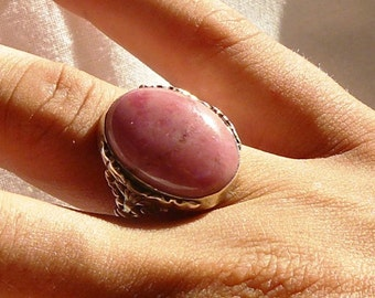 Rhodonite Sterling silver ring size 7.5
