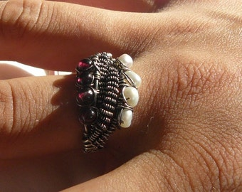 Pearls - Ruby Garnets - Sterling Silver – 925 - Wire Wrapped – Ring- size 8.5