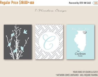 ON SALE Personalized Family Tree Birds State Artwork Set of 3 Prints // Charcoal, Grey, Duck Egg // 5x7, 8x10, 11x14 // Family Art Prints, U