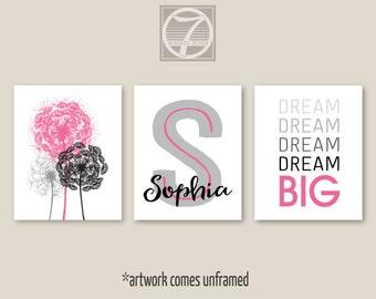Girls Pink Gray Dream Big Dandelions Personalized Art Prints Set of (3) 5x7, 8x10 or 11x14, Girls Teens Dorm Bedroom Decor- UNFRAMED