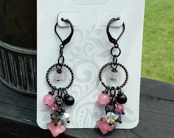 Vintage Style Pink/ Black Czech/Vintage Crystal and Bead Earrings