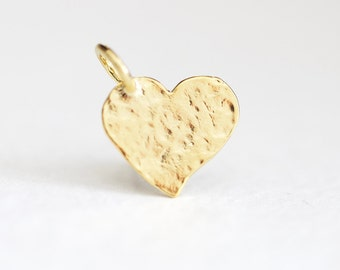Shiny Vermeil Gold Hammered Heart Charm with Attached Bail - 14mm x 11mm 925 silver textured heart pendant with round 4mm bail, valentines