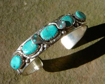 Turquoise and Silver Snake Cuff Vintage Effie Calavaza Snake Bracelet Zuni Native American Handmade Jewelry