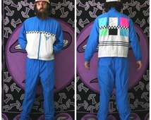 Retro Nylon 90s Neon Blue White Checkerboard Head Brand Track Suit. Windbreaker Jacket and Pants Matching Set 80s Hip Hop Swishy Outfit