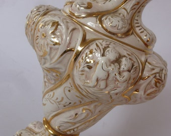 Vintage Lamp Hollywood Regency Gold and White Ceramic Table Lamp With Cherub and Floral Design Mid Century Lighting  Made in the 70's
