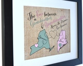Grandma Granddaughter Map: Long Distance Grandmother Gift Love Missing You Present Mother's Day Gifts Birthday Christmas Custom Art Print
