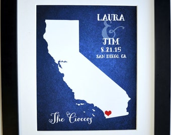 Unique wedding shower gift, anniversary gift for couple, any state map, new home decor, wedding decoration, california gift, housewarming