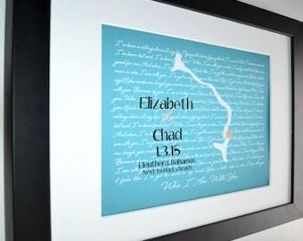 Custom anniversary gift, personalized bahamas map print, wedding present, island map art print, destination wedding keepsake