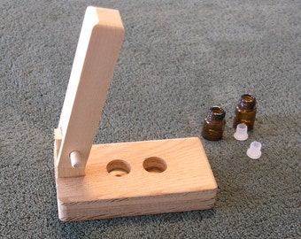 Orifice Reducer Press for Sample Oil Vials - hand crafted unfinished wood