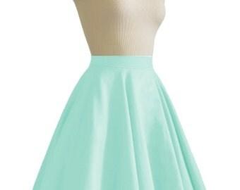 JULIETTE Mint Rockabilly Swing Rock 'n Roll Skirt//Full Circle Black Skirt//Retro Mod 50s style Skirt//Party Skirt XXS-3X