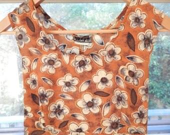 VNTG floral sleeveless mini 90s tie back