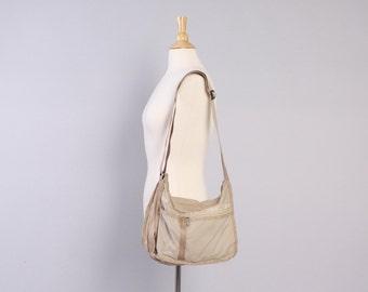 Vintage LE SPORTSAC Bag / Light Tan Nylon Logo Print Classic Purse