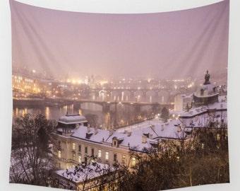 Prague Wall tapestry Night city tapestry Night lights tapestry Christmas tapestry Snow tapestry Violet Tapestry Prague Photo Tapestry