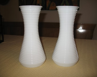 Milk glass Vases Milk Glass canelles pot for flower vase decoration. Set of 2 vases