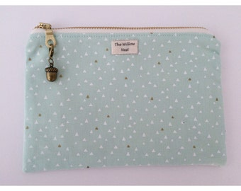 Gold Metallic Triangle Mint Zip Pouch with Acorn Charm