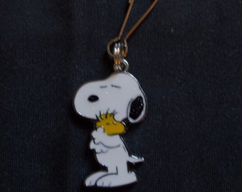 New Enamel Silver Plated Alloy Snoopy Hugging Woodstock Charm Zipper Pull Clip On Charm Craft Charm Jewelry Charm
