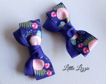 Floral bloom bow hair clips, Set of 2