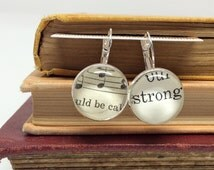 Be Strong Earrings, Inspirational Earrings, Strong Jewelry, Book Lover Gift, Old Book Jewelry, Recycled Book, Print Earrings, Word Earrings