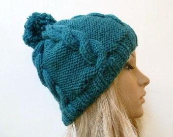 Women Hand Knitted Pom Pom Hat, Merino Wool Acrylic Knit Cabled Bobble Hat, Women's Blue Green Chunky Aran Bobble Hat, ClickClackKnits