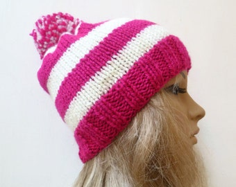 Women Hand Knitted Pom Pom Hat, Pink Cream Knitted Beanie Bobble Hat, Hand Knit Ski Hat, Chunky Knit Bobble Hat, Clickclackknits
