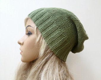 Cotton Bamboo Linen Slouchy Beanie Hat, Women Hand Knitted Green Slouch Beanie Hat, Eco Friendly Slouchy Hat, ClickClackKnits