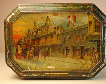 ENGLISH christmas  Scenes toffee biscuit Antique Octagon Candy Tin  lily of valley design lithograph graphics patina charm lovely etsy
