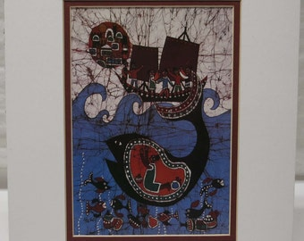 Jonah and the Whale by Amos Amit ~ Limited Edition Signed Print ~ Batik Art ~ 245/300
