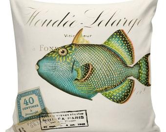 Nautical Pillow, Fish Pillow, Beach Pillow, French, Ships, Ocean Decor, Throw Pillow Cover, #NA0050, Elliott Heath Designs