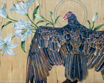 """Vulture and Lillies Fine Art Print; """"Queen of Peace"""" 8 x 10"""