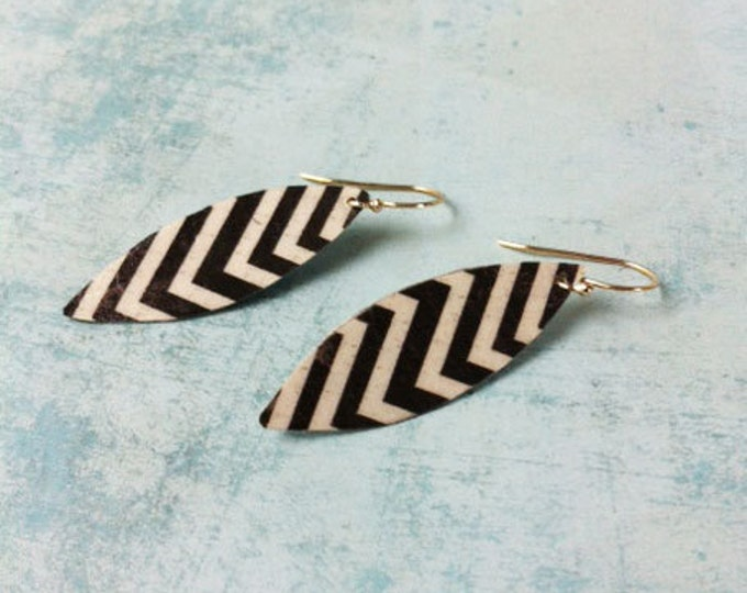 Boho Earrings - clip on earring - boho chic - paper earrings - geometric pattern -dangle and drop  gift for her -feather shape - black white