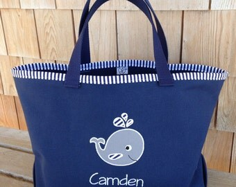 Kids Personalized Blue Nautical Tote with Whale Design