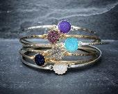 Dainty Druzy Bangle / 14k Gold Fill or Sterling Silver / Druzy Stacking Bangles / Slip On Bangles / Druzy Bracelets / Bridesmaid Bracelet