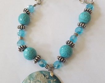 Turquoise and Silver Necklace and Earring Set