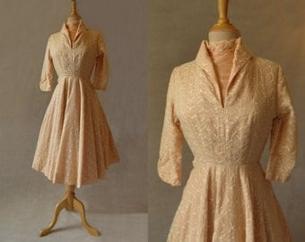 Apricot Embroidered Dress - 1950s