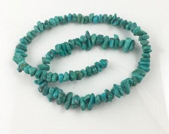 Chinese hubei turquoise chip beads-tibetan green turquoise chip beads-green gemstone -December birthstone beads -5-10mm 8inchNo792-2