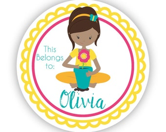 Name Personalized Stickers - Yellow Pink Garden Sticker, Girl Gardener Name Label Sticker Tags - Back to School - This Belongs To Labels