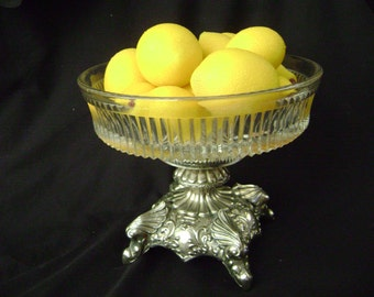 Elegant Silver Hollywood Regency Footed Compote, Fruit Bowl, Candy Dish